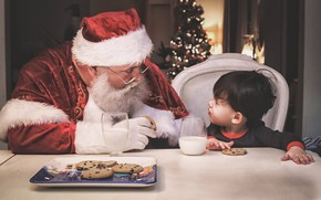 Picture boy, milk, cookies, Christmas, New year, Santa Claus, treat