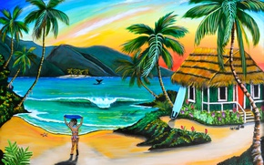 Picture beach, palm trees, figure, picture, girl, house, painting, painting, Robin Boney
