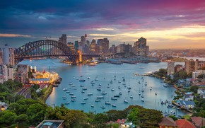 Picture the sky, trees, sunset, bridge, lights, home, yachts, boats, the evening, Australia, Bay, Sydney, Harbour …