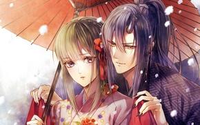 Picture snow, umbrella, claws, kimono, two, art, horn, bangs, youkai, yoro bus station
