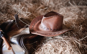 Picture leather, straw, Cowboy hat