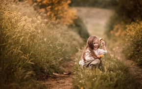 Picture summer, grass, joy, nature, childhood, face, emotions, mood, mushroom, village, meadow, track, girl, path, former, …
