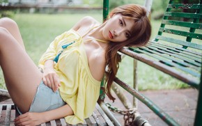 Picture girl, Asian, bench
