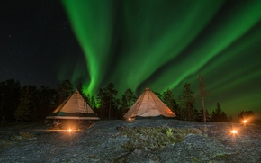 Picture forest, the sky, trees, night, stars, Northern lights, lights, Finland, tents, Lapland
