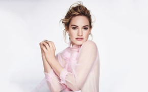 Picture look, girl, pose, portrait, blouse, beautiful, Lily James