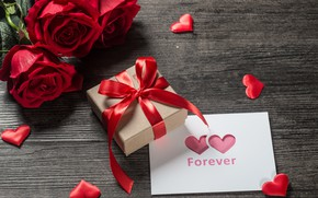 Picture love, gift, heart, roses, bouquet, red, red, love, romantic, hearts, Valentine's Day, gift, valentine, roses