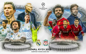 Picture football, poster, 2018, Kiev, Liverpool, Champions League, Real Madrid, The final