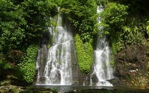 Picture greens, the sun, trees, rock, tropics, stones, waterfall, Indonesia, Ijen Lake