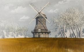 Wallpaper field, trees, windmill, mill