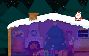 Picture winter, roof, snow, night, holiday, vector, art, New year, house, Santa Claus