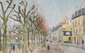 Picture trees, street, home, picture, the urban landscape, Gustave Loiseau, Gustave Loiseau, Quay of the River …