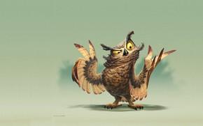 Picture mood, owl, minimalism, positive, art, Owl painting, James Castillo