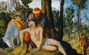 Picture tree, oil, picture, mythology, Master of the Amsterdam, Good Samaritan