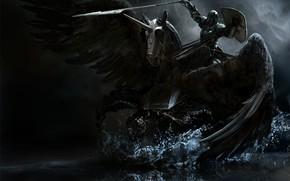 Picture horse, warrior, rider, knight, Pegasus