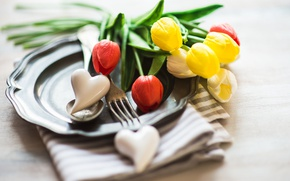 Picture flowers, holiday, towel, plate, spoon, hearts, tulips, plug, March 8