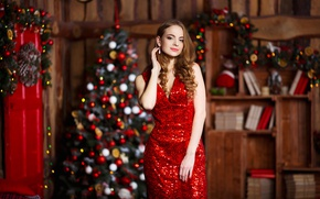 Picture holiday, new year, makeup, figure, dress, hairstyle, tree, brown hair, in red, bokeh