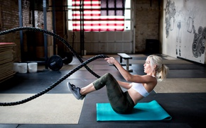 Wallpaper female, training, Workout, blonde, rope, crossfit
