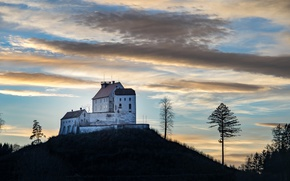 Picture clouds, castle, Germany, hill, Waldburg