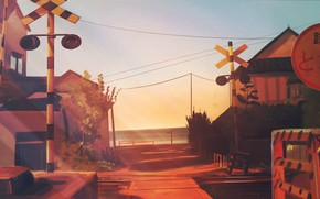 Picture sea, the sky, home, signs, railway crossing