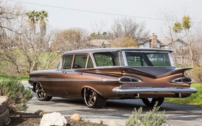 Picture Chevrolet, Chevy, 1959, Custom, Brown, Station Wagon, Parklane
