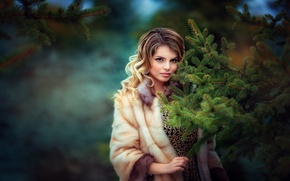 Picture look, girl, branches, tree, spruce, makeup, coat, tree, brown hair