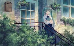 Wallpaper Hatsune Miku, porch, girl, Vocaloid, house