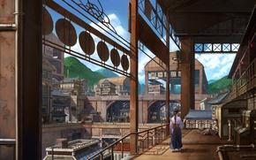 Picture pipe, people, plant, beams, Japan, veranda, fittings