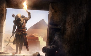 Picture pyramid, Egypt, torch, the crypt, assassin, Assassin's Creed, Assassin's Creed Origins