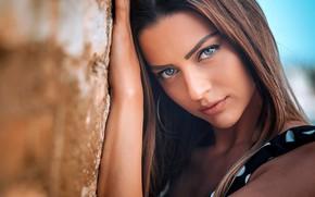 Picture girl, long hair, photo, photographer, blue eyes, model, beauty, bokeh, lips, face, brunette, portrait, mouth, …