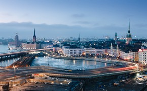Picture the city, lights, the evening, Stockholm, Sweden