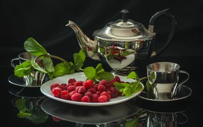 Picture raspberry, tea, kettle, Cup, still life