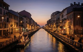 Picture sunset, lights, home, the evening, lights, Italy, channel, Milan
