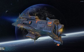 Picture space, transport, planet, stars, some ship