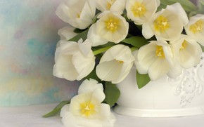 Picture flowers, bouquet, tulips, vase, white