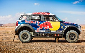 Picture Sand, Mini, Blue, Sport, Speed, Race, Red Bull, Rally, Rally, Raid, MINI Cooper, X-Raid