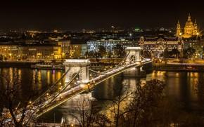 Picture night, bridge, the city, lights, river, Hungary, Budapest