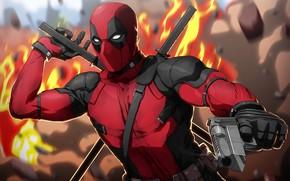Picture gun, weapons, fiction, fire, mask, art, costume, gloves, swords, Deadpool, Deadpool, comic, katana