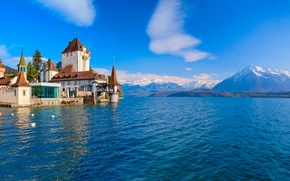 Picture mountains, lake, castle, Switzerland, Alps, Switzerland, Alps, Lake Thun, Oberhofen Castle, Lake Thun, Oberhofen Castle, ...