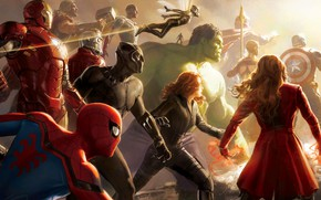 Picture Scarlett Johansson, Infinity, Vision, Hulk, Nebula, Iron Man, War, Falcon, 2018, Captain America, Vin Diesel, ...