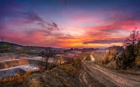 Picture sunset, quarry, road