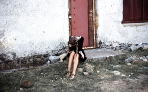 Picture girl, castle, wall, the door, braids, form, legs