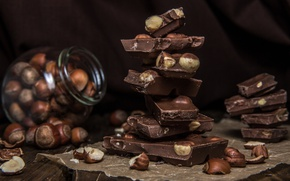Picture chocolate, nuts, sweet, hazelnuts
