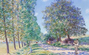 Wallpaper A row of Poplars on the banks of the Luena, picture, Alfred Sisley, landscape, Alfred ...