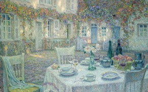 Picture house, table, picture, yard, serving, Breakfast, Henry Le Sedane Products, Henri Le Sidane