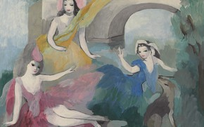 Picture oil, arch, canvas, Modern, Marie Laurencin, Three girls in front of axle