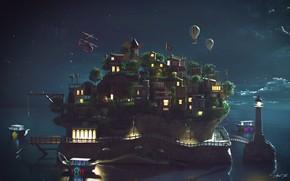 Picture island, settlement, Island NightShot