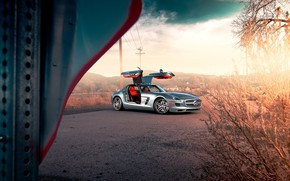 Wallpaper Mercedes, AMG, SLS, Silver, C197, Gull wing