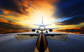 Wallpaper clouds, the sky, shadow, runway, glow, asphalt, the plane, passenger