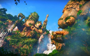 Picture Waterfall, Statue, Uncharted: The Lost Legacy, Ganesha