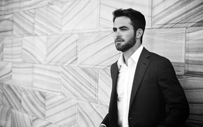 Picture photo, wall, portrait, actor, black and white, Sydney, shirt, jacket, Chris Pine, Chris Pine, 2013, …